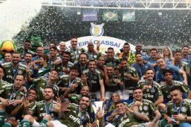 Palmeiras comemorando o campeonato brasileiro 2018